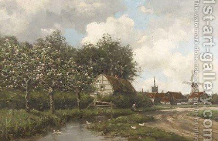 A village by a stream in spring by Hermanus Koekkoek - Reproduction Oil Painting