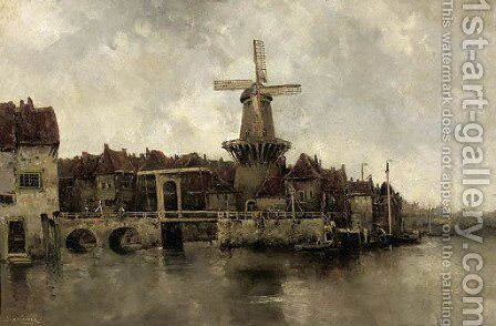 A windmill by a drawbridge in a town by Hermanus Koekkoek - Reproduction Oil Painting