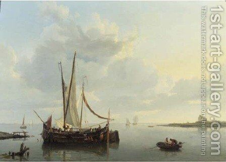 A calm the barge De Vrouw preparing for departure by Hermanus Koekkoek - Reproduction Oil Painting