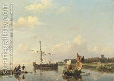 Activities on a calm river in summer by Hermanus Koekkoek - Reproduction Oil Painting