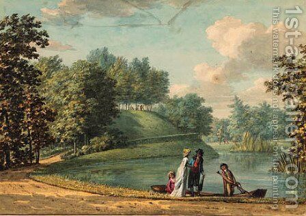 Elegant company entering a rowing boat on the 'Groote Kom' in the gardens of Castle Groeneveld, near Baarn by Hermanus Numan - Reproduction Oil Painting