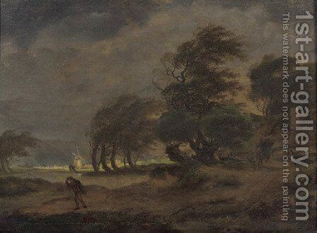 Peasants in a horse-drawn wagon on a country road with a traveller nearby, a windmill beyond, in a stormy landscape by Hermanus Van Brussel - Reproduction Oil Painting