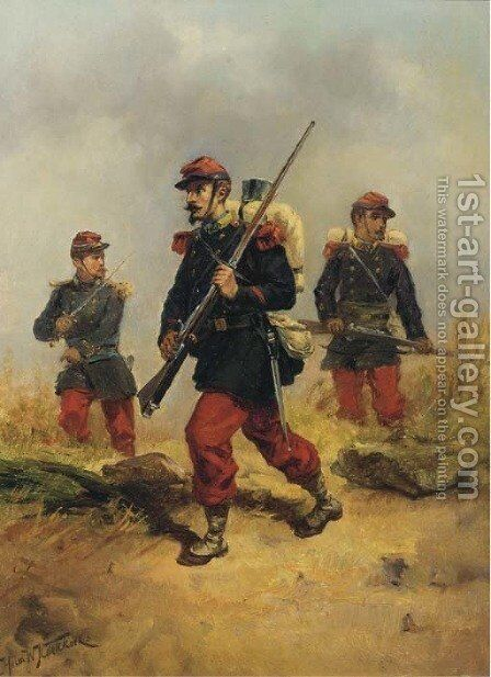 French infanterists on reconnaissance by Hermanus Willem Koekkoek - Reproduction Oil Painting