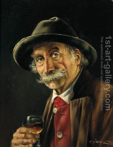 A Bavarian gentleman drinking a glass of wine by Hermine Gartner - Reproduction Oil Painting