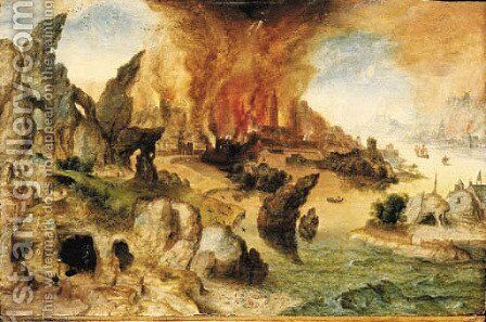 A mountainous landscape with Lot and his Daughters, the Destruction of Sodom and Gomorrah beyond by Herri met de Bles - Reproduction Oil Painting