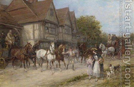 A Busy Day by The Swan by Heywood Hardy - Reproduction Oil Painting