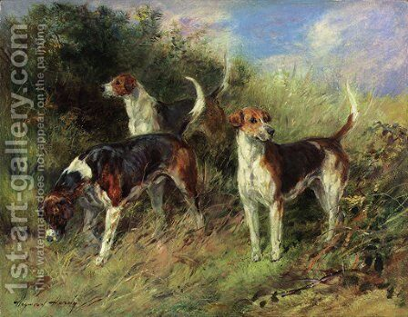 Dandy, Nigel and Sapphire - North Shropshire Foxhounds by Heywood Hardy - Reproduction Oil Painting