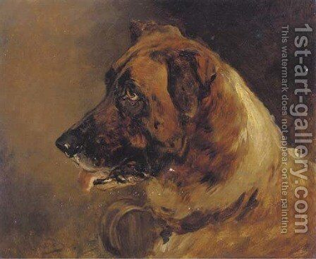 The head of a St. Bernard by Heywood Hardy - Reproduction Oil Painting