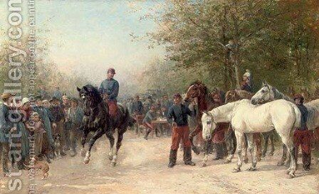 French troops billeting by Heywood Hardy - Reproduction Oil Painting