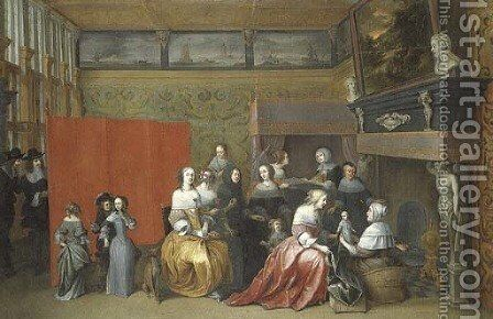 Ladies celebrating the birth of a child, with gentlemen looking on from behind a screen, in an interior by Hieronymus Janssens - Reproduction Oil Painting