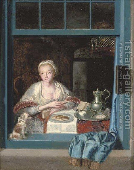 A lady sitting at a table with a dog at an open window by Heroman Van Der Mijn - Reproduction Oil Painting