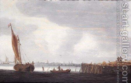 A smalschip setting out from a harbour at dawn with fishermen in a rowing boat by Hieronymous Van Diest - Reproduction Oil Painting