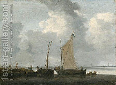 Fishermen unloading their Catch in calm Waters by Hieronymous Van Diest - Reproduction Oil Painting