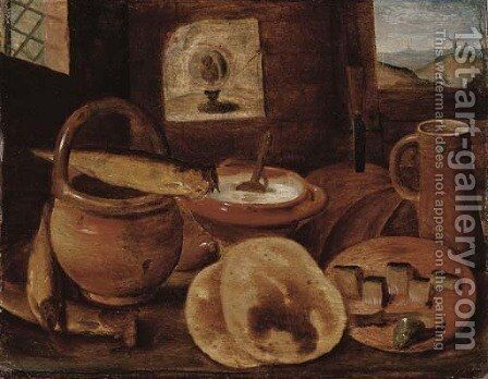 A poor man's meal a loaf of bread, porridge, buns and a herring on a wooden table by Hieronymus Francken - Reproduction Oil Painting