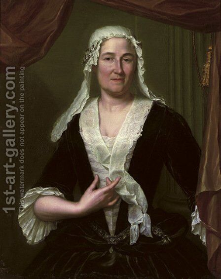 Portrait of a lady, half-length, in a dark green velvet dress and white chemise, wearing a white headdress by Heroman Van Der Mijn - Reproduction Oil Painting