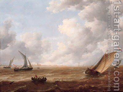 A wijdschip tacking offshore in a stiff breeze with a smalschip and sailors in a rowing boat nearby, on a cloudy day by Hieronymus Van Diest - Reproduction Oil Painting