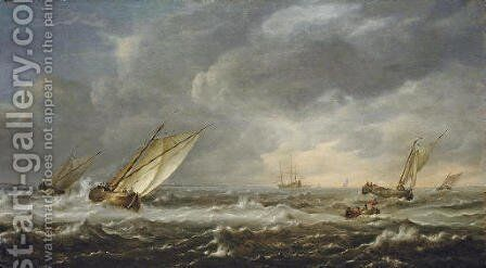 Fishing boats in choppy seas off the coast by Hieronymus Van Diest - Reproduction Oil Painting