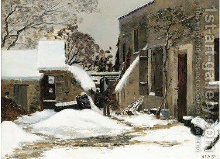 Maisons enneigees by Hippolyte Camille Delpy - Reproduction Oil Painting