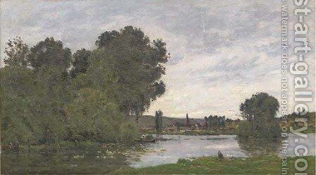 Washerwoman on the riverbank 2 by Hippolyte Camille Delpy - Reproduction Oil Painting