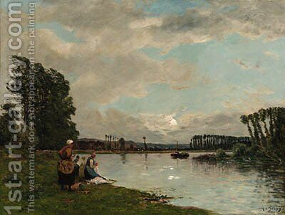 Washerwomen at a River by Hippolyte Camille Delpy - Reproduction Oil Painting