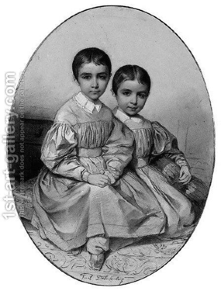 Portrait of Alexandre and Leon de Gosselin, as children by Hippolyte (Paul) Delaroche - Reproduction Oil Painting