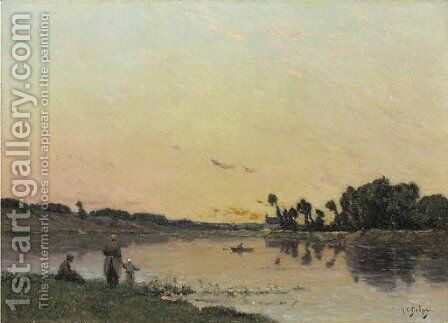 On the Riverbank at Sunset by Hippolyte Camille Delpy - Reproduction Oil Painting
