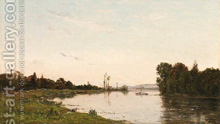 Washerwoman on a river bank by Hippolyte Camille Delpy - Reproduction Oil Painting
