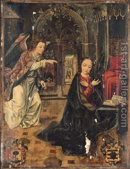 The Annunciation with the Visitation beyond by Hispano-Flemish School - Reproduction Oil Painting