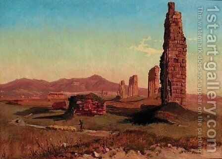 A shepherd with his sheep by a ruined aquaduct on the Roman Campagna by Holger Hvitfeldt Jerichau - Reproduction Oil Painting