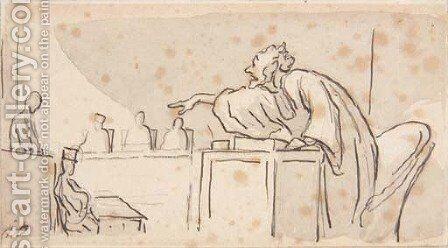 A lawyer pointing to a defendant in a courtroom by Honoré Daumier - Reproduction Oil Painting