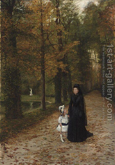 La Promenade dans le parc by Horace de Callais - Reproduction Oil Painting