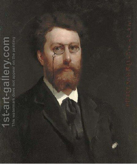 Portrait of a gentleman, bust-length, wearing a black jacket and spectacles by Horace van Truith - Reproduction Oil Painting