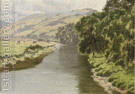 The Rheidol, from Pen-y-bont Bridge; and children on a beach by Horace Walter Gilbert - Reproduction Oil Painting