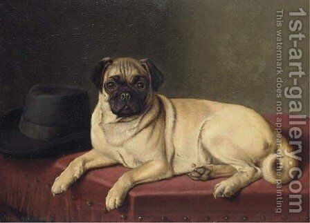 Waiting for Master - A pug on a stool by Horatio Henry Couldery - Reproduction Oil Painting
