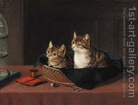 Two kittens in a basket watching a bird in a cage by Horatio Henry Couldery - Reproduction Oil Painting