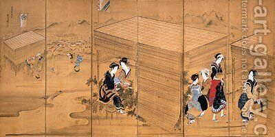 Picking tea by Hotei Gosei - Reproduction Oil Painting