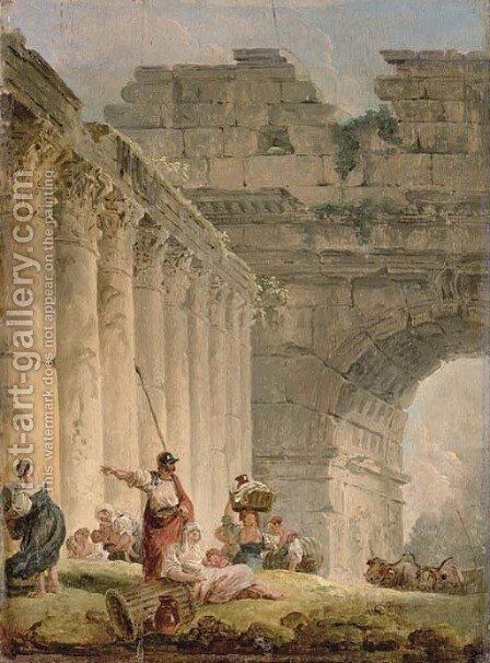 A capriccio of a classical colonnade and a triumphal arch with a soldier and washerwomen on a bank by Hubert Robert - Reproduction Oil Painting