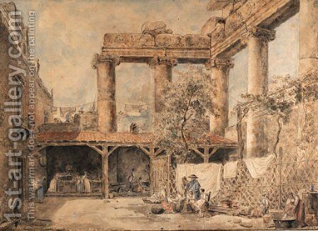 A courtyard at the Villa Pamphilj, Rome by Hubert Robert - Reproduction Oil Painting