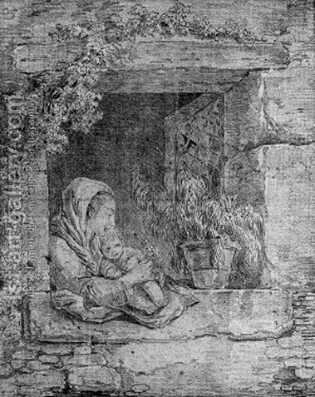 A mother and child embracing by a cottage window by Hubert Robert - Reproduction Oil Painting