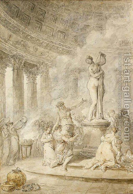 A sacrifice before the Callipygian Venus in a circular temple by Hubert Robert - Reproduction Oil Painting