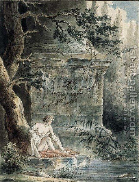 A young female Bather near a Column by Hubert Robert - Reproduction Oil Painting