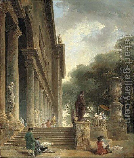 Colonnade et jardins du Palais Medici Gentlemen sketching in an Italianate garden by Hubert Robert - Reproduction Oil Painting