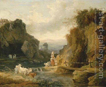 Figures by a footbridge in a rocky river landscape by Hubert Robert - Reproduction Oil Painting