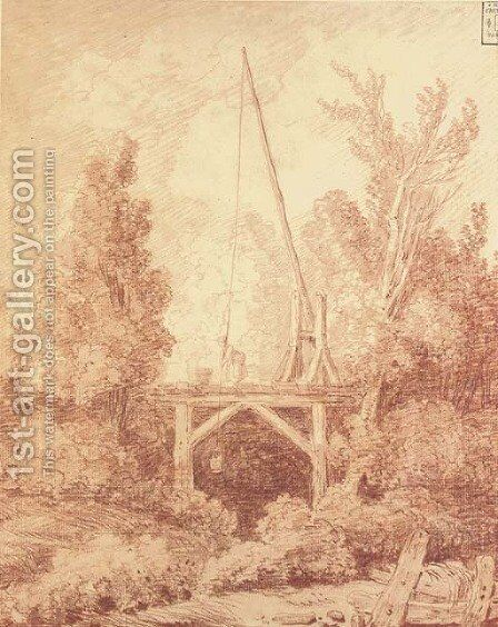 Le seau d'eau A woman on a pontoon among trees lowering a bucket into a stream by Hubert Robert - Reproduction Oil Painting