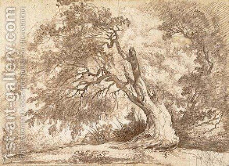 Study of a large tree, a figure in the left foreground by Hubert Robert - Reproduction Oil Painting