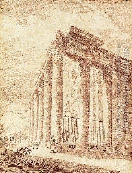 The Temple of Antoninus and Faustina by Hubert Robert - Reproduction Oil Painting