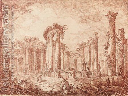 The temple of Serapides at Pozzuoli by Hubert Robert - Reproduction Oil Painting
