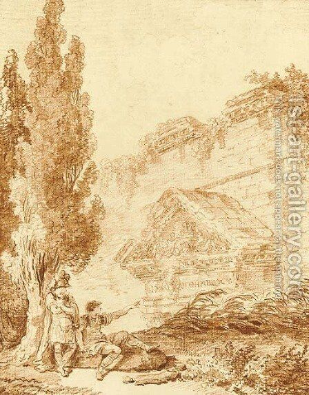 Two Roman soldiers resting by a ruined temple by Hubert Robert - Reproduction Oil Painting