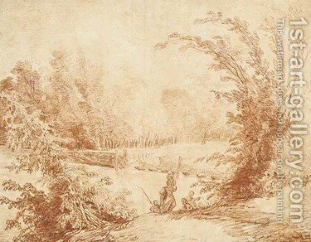 View of a park with figures by a pontoon bridge by Hubert Robert - Reproduction Oil Painting