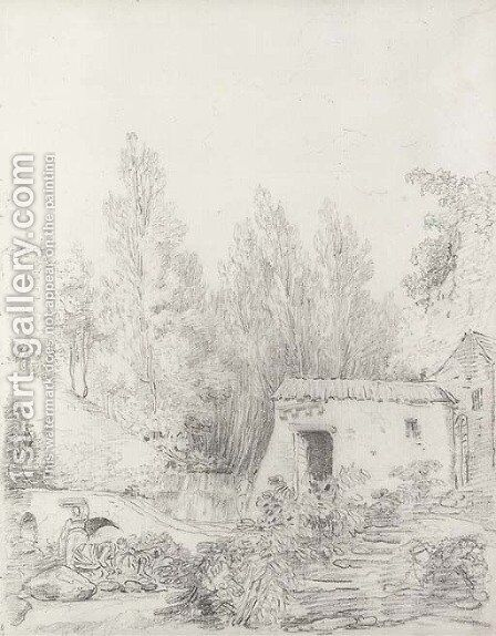 Washerwomen in a stream by a rustic cottage by Hubert Robert - Reproduction Oil Painting